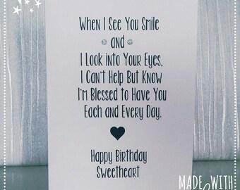 Card, Happy Birthday Card, Sweetheart Card, Sweet Card for Her, Card for Her, Birthday Card, Love Card Girlfriend, Girlfriend Card