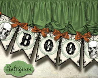 halloween  Banner BOO Digital Collage Sheet/ halloween bunting/ DIY Party decoration
