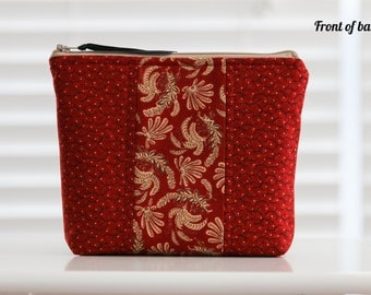Zip It Pouch - Cosmetic Bag, Everyday Pouch, Catchall bag -- crimson red coordinating fabrics -- FREE shipping