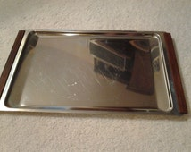 Vintage Mid Century Stainless Steel Metal with Teak Wood Handles - Serving Dish/Tray - Art Deco Modern Denmark Kalmar Stainless Steel Tray
