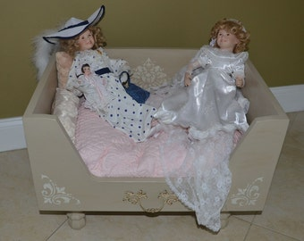 Luxury Designer Doll Bed-- Taupe and Cream Drawer Bed