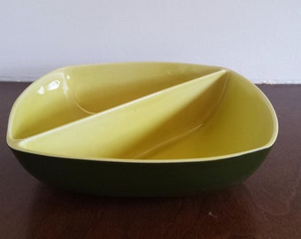 Mid Century Winfield China Divided Serving Bowl dish chartreuse lime and green square shaped