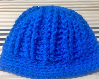 blue baby hat, ribbed hat, crocheted hat, crocheted baby hat, skull cap, beanie, handmade baby hat, baby boy beanie