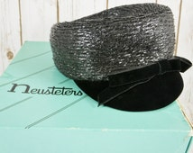 Vintage Neusteters 1950's Black Bow Hat With Original Hat Box ~ Woven & Velour Brim ~Fashion Advertising ~ Newsboy Womens Hat