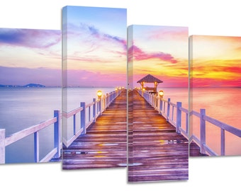 colourful sunset pier/set of 4 new split canvas prints.