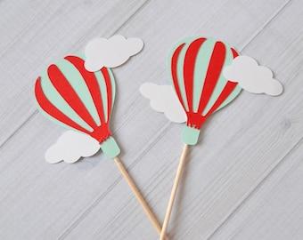 Hot Air Balloon Cupcake toppers, Hot Air Balloon Birthday, Up Up and Away