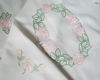 Vintage Linen Rectangular Tablecloth. Large Oblong Tablecloth with Hand Embroidered Pink Roses. Perfect For An Afternoon Tea Party!