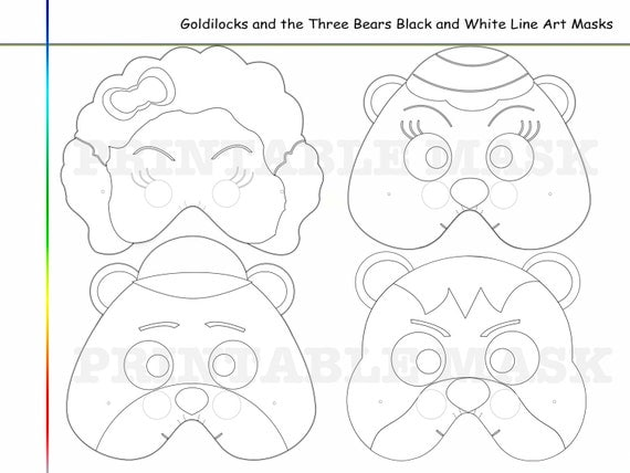 Coloring Pages Goldilocks and the Three Bears Mask paper