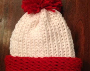 Red and White Hat with Red Pom Pom Valentine's Halloween Christmas Baby Infant Toddler Child's Teen Adult Knitted Winter Hat