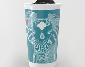 Elephant Travel Mug - Personalized background 12 oz Ceramic - Yoga Animals Gift Womens Boyfriend Work Car Cute Birthday Hippie Gift Coffee