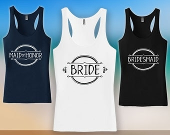 Maid of Honor Tank Top - Bachelorette Party, bridesmaid matching t-shirts, Girls Night Out, wedding day tanks, Bridesmaid Tank Top - CT-510
