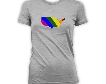 USA Lgbt Ally Shirt - Usa Outline, LGBT Ally t-Shirt, Gay Pride Clothing, Gay Pride Merchandise, Mens Womens Shirts Lgbt shirts CT-420