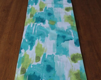 Table Runner Teal Watercolour
