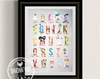 Disney Inspired Boys Alphabet Print - Nursery Print / Poster - Character & Typography Illustration