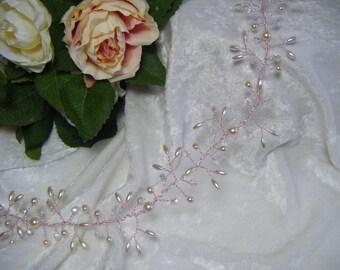 Bridal Hair Vine crystals and pearls