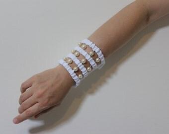 Pearl Beaded Travel Party Wrist Purse -Wrist wallet-Wristlet-Velcro-Cuff-Bracelet-Fabric Womens wallet