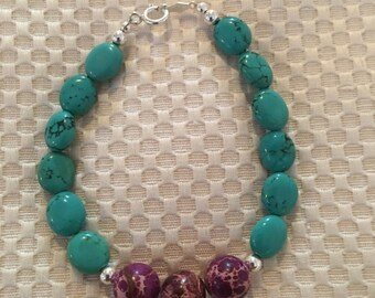 Bracelet of Turquoise and Jasper 925 yplata