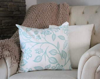 Teal and White Pillow Sham - 18X18- Decorative Pillow Cover