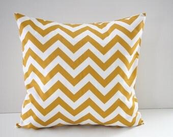 Decorative Pillow Cover, Home Decor, Chevron Decorative Pillows, Mustard Chevron Pillow Sham, Pillow Sham, 18x18, Throw Pillow