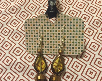 Handmade Dangle Bronze/Amber Earrings