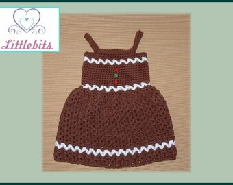 Littlebits Newborn Baby Crocheted Christmas Gingerbread Dress - Handcrafted & Sold in Australia