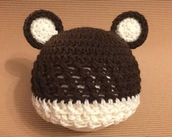 Littlebits Newborn Baby Crocheted Brown & Cream Teddy Beanie - Handcrafted in Australia RTS