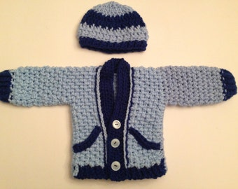 Baby Sweater with Hat Blue with dark blue - Open Cardigan with Beanie for Baby - Baby Crochet Set