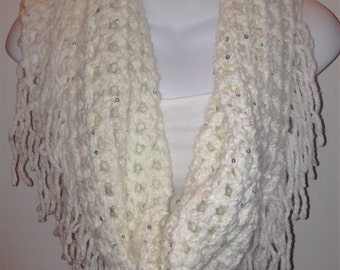 Chunky Fringe Infinity Crochet White Scarf, Women Scarf, White Cowl w/Fringe and Sequins