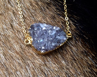 Gold Druzy Agate Pendant Necklace