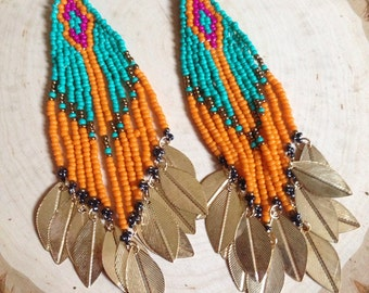 Beaded earrings with gold accents