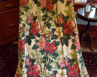"Vintage Bark Cloth Curtain Drape Panel~64"" Pinch Pleat~Lovely Floral/Flowers Hibiscus Tropical #1"