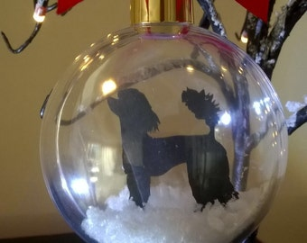 Poodle Dog Silhouette in Snow Acrylic Bauble