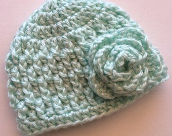 Mint Textured Crochet Hat With Rose