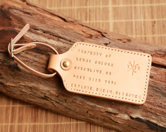 Personalise Luggage Tag with card slot, Handstitched Leather Luggage Tag