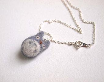 Needle Felted Totoro Necklace - Felt Totoro Necklace - Totoro Necklace