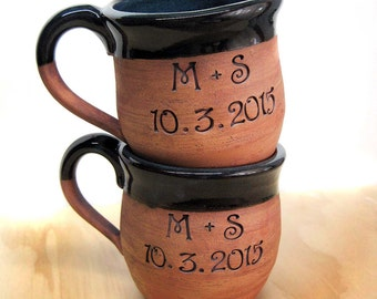 Personalized CUSTOM MADE to ORDER Large Pottery Message Coffee Mug Hand-Thrown Shower Gift Rescue Mom Dad Love Wedding Gift Groomsmen gift