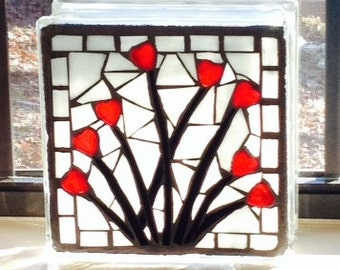 Stained Glass Mosaic Glass Block- Hearts