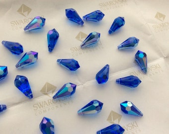 24 pieces Swarovski #6000 11x5.5mm Crystal Sapphire Blue AB Teardrop Faceted Pendant Beads