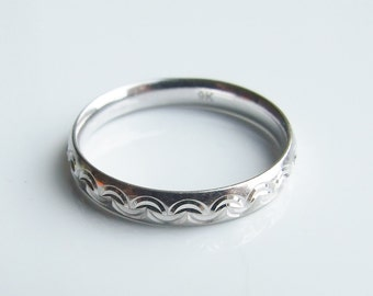 Vintage 9ct 9k White Gold Engraved Band Ring Size 6 - L 1/2