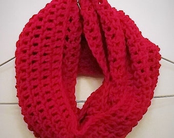 Infinity Scarf Crochet Infinity Scarf Red Basic-Child/Adult