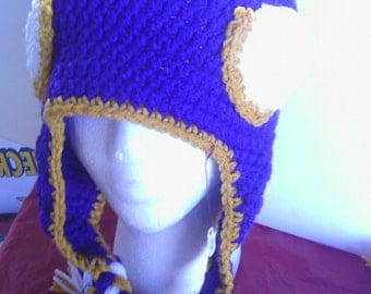 MN Vikings crocheted earflap hat