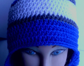 Blue,silver and white crocheted earflap hat