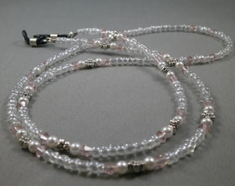 "New design 32"" eyeglass lanyard with white pearls and pink crystal . Beautiful lanyard"