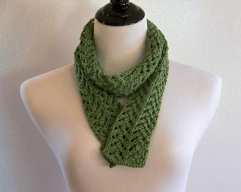 Green Sage Scarf, Green Knit Scarf, Green Cotton Scarf Pattern, Lace Knit Pattern, Green Scarf PDF, Cotton Scarf Pattern, Year Round Scarf