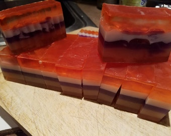 Sugar plum scented Layered colored soap bars