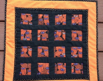 Owls in the Window, small handmade quilted table topper
