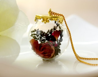 Orb / necklace / purple / Natural Dried Flower, Rose, Flower Necklace, Real Flower Jewelry, Plant Necklace, Terrarium Necklace, Gift for her