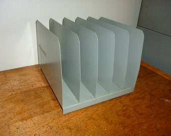 5 Slot Vintage File Sorter, Industrial Metal Office Desk Organizer - Gray