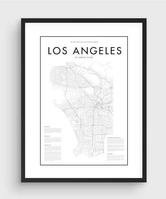 Minimal Los Angeles Map Poster Black Amp White Minimal Print