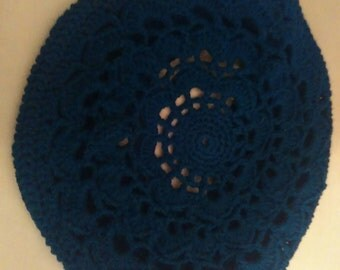 Ladies Blue Crochet Beret Hat